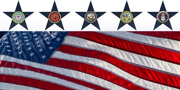 American flag and military logos