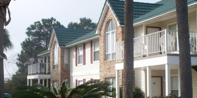 Apartment building with palm trees